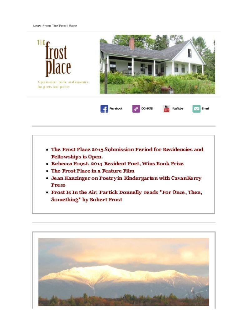 The Frost Place Newsletter October 28, 2014