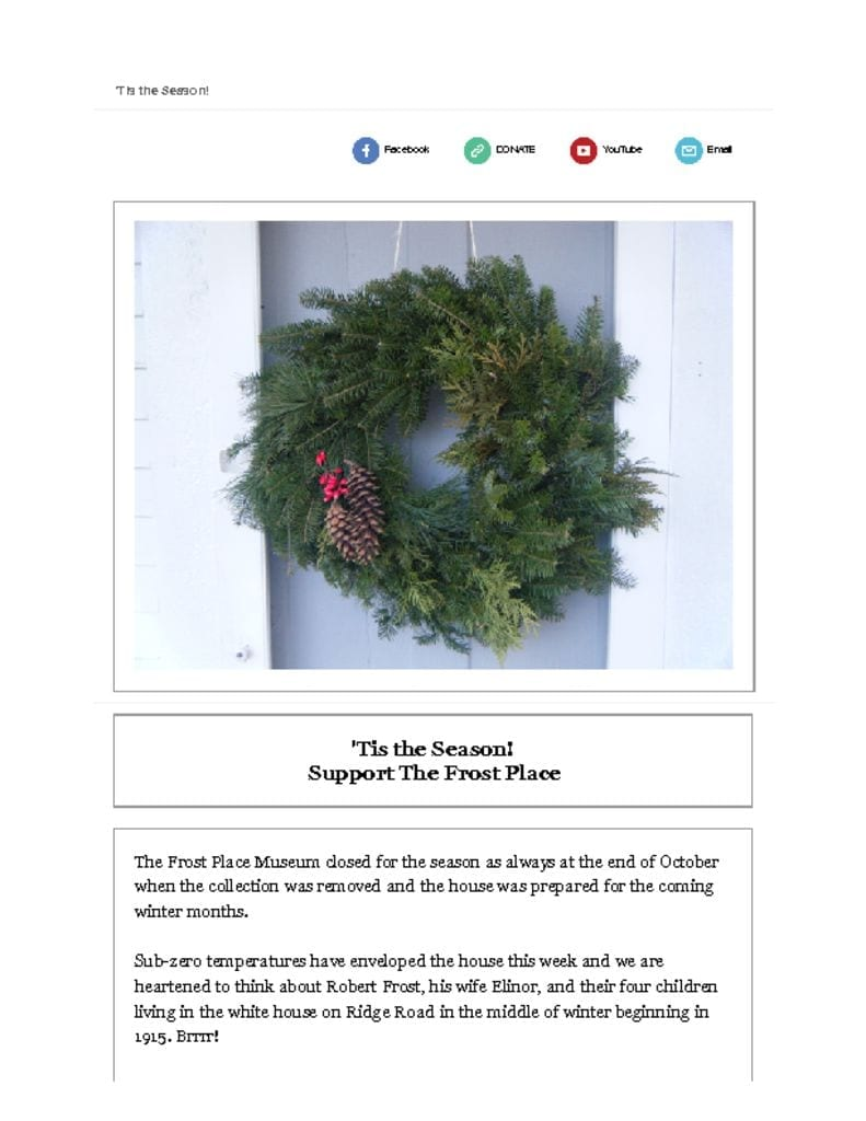The Frost Place Newsletter Tis the Season