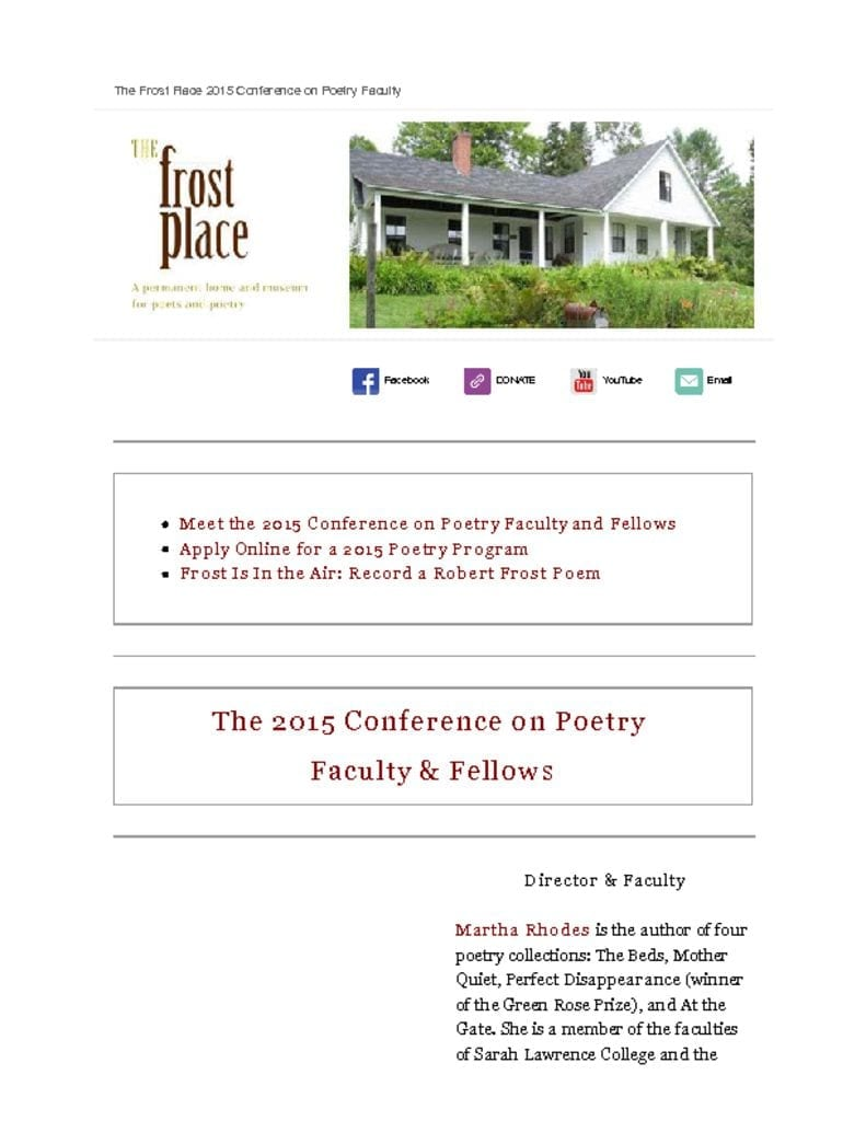 The Frost Place Newsletter Conference on Poetry Writing Faculty