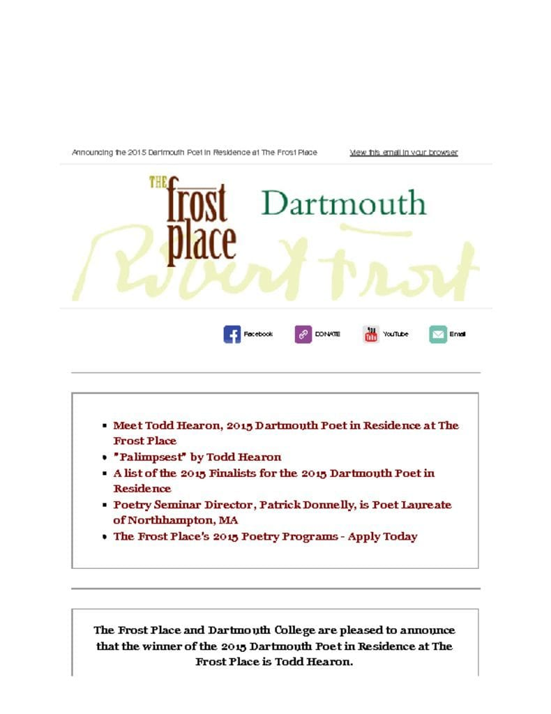 The Frost Place Newsletter Dartmouth Poet in Residence Todd Hearon