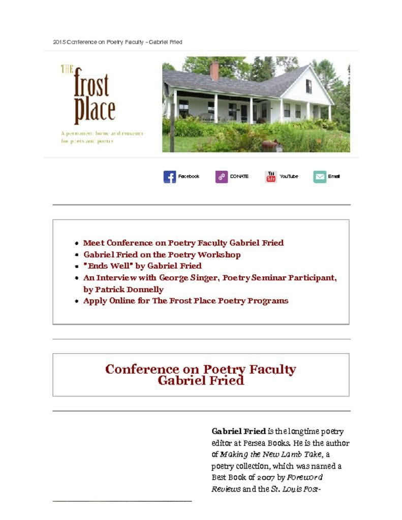 The Frost Place Newsletter Gabriel Fried Conference on Poetry