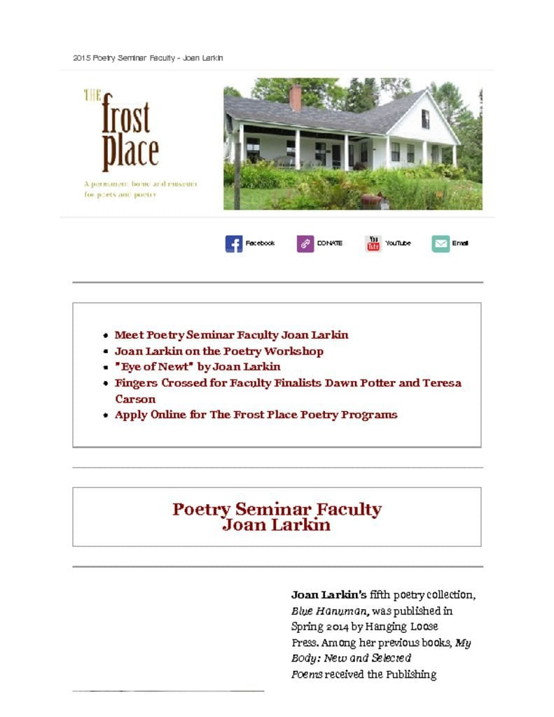 The Frost Place Newsletter Conference on Poetry Joan Larkin