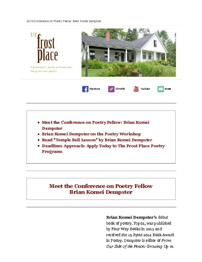 The Frost Place Conference on Poetry Brian Komei Dempster