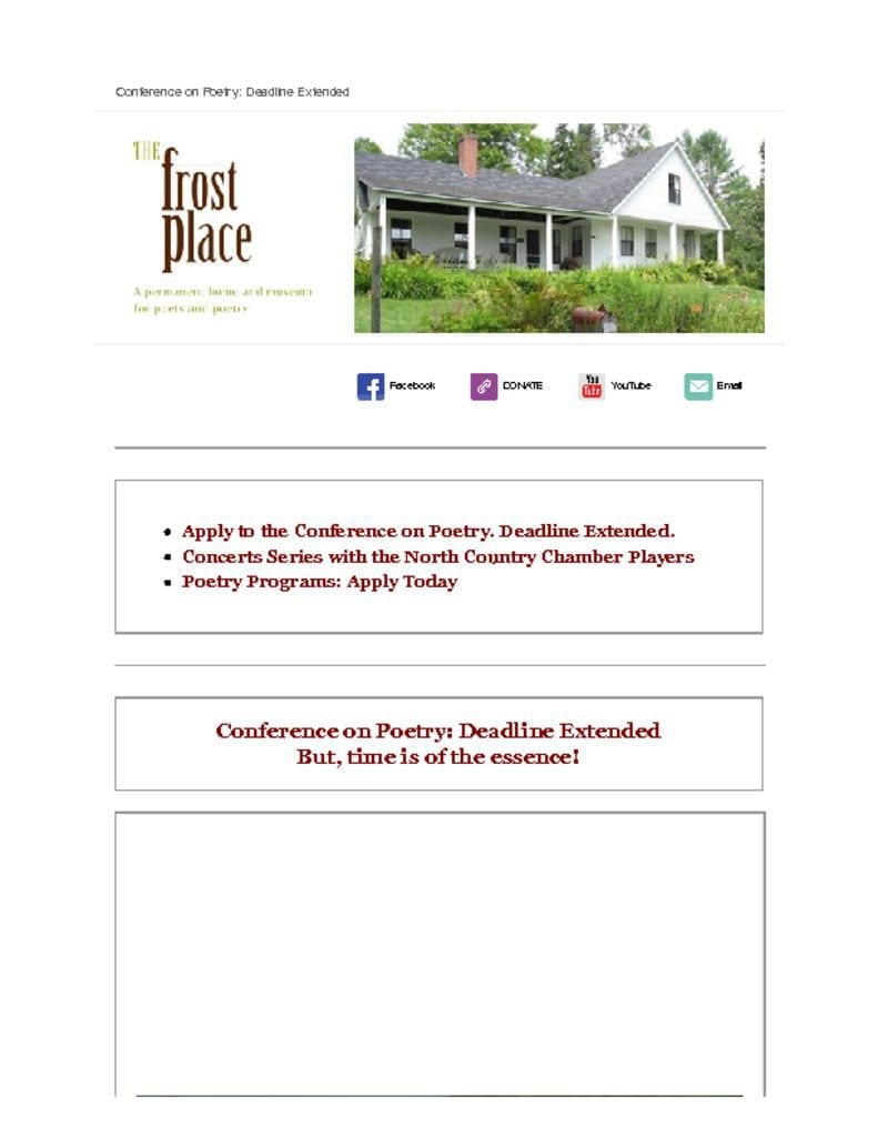 The Frost Place Newsletter Conference on Poetry Deadline Extended