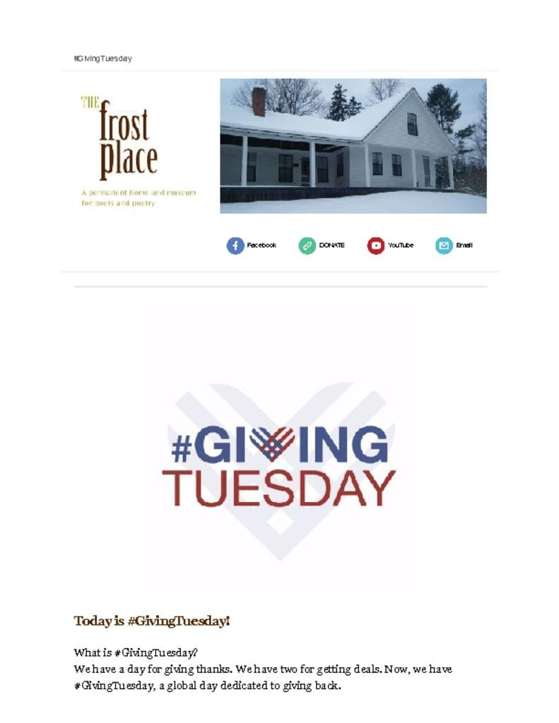 The Frost Place Newsletter Giving Tuesday
