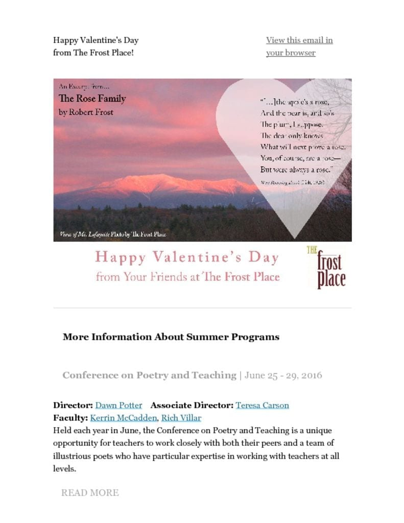 The Frost Place Newsletter Valentine's Day