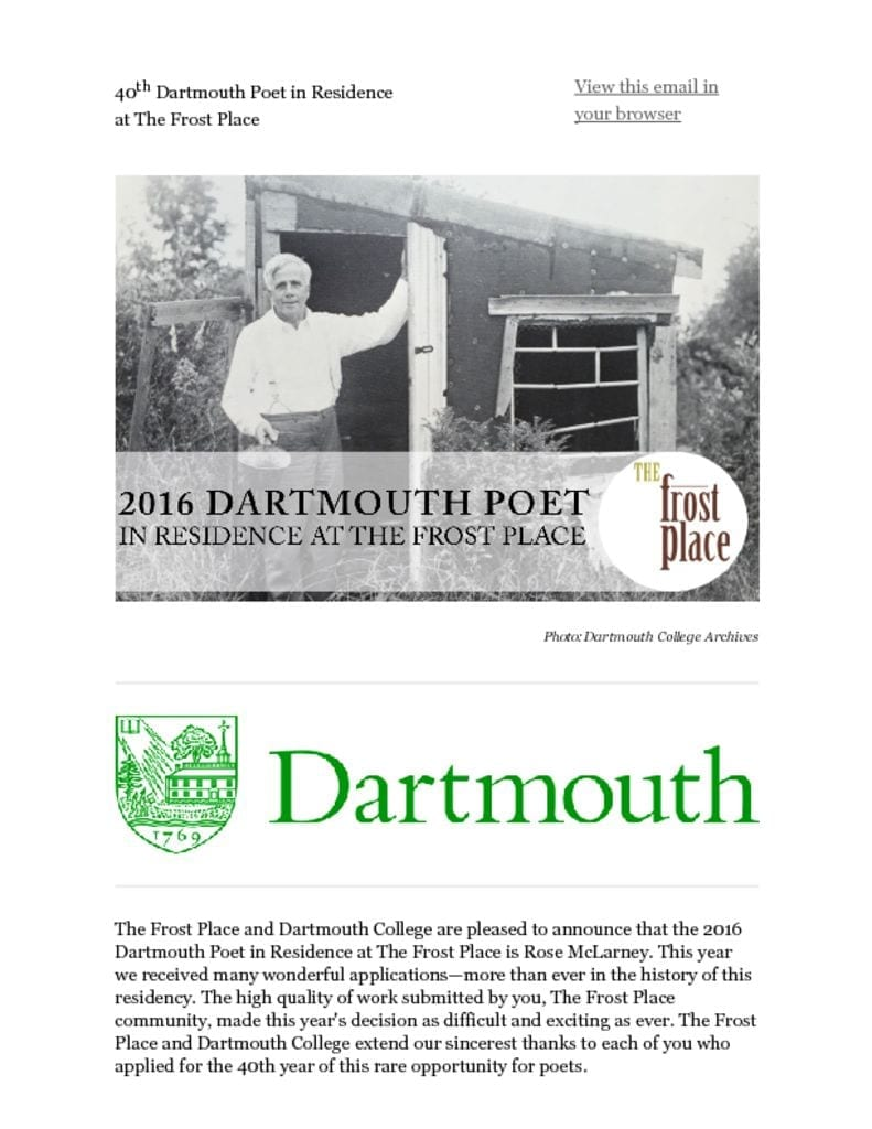 2016 Dartmouth Poet in Residence at The Frost Place is Rose McLarney