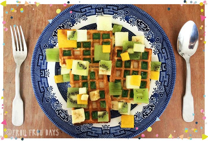 minecraft waffles on a plate.