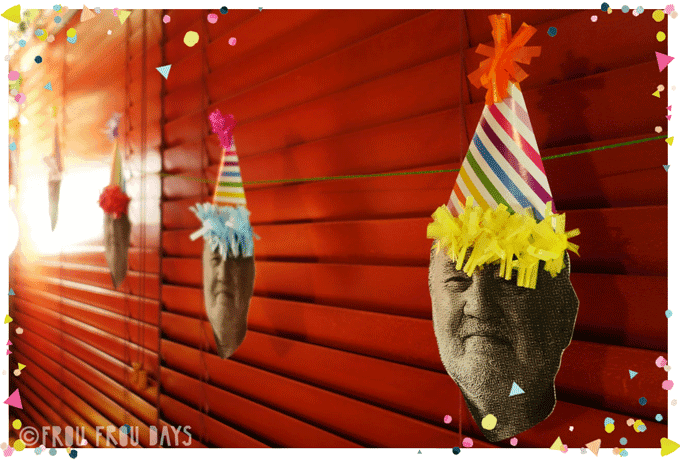 Personalised bunting man's face wearing party hats