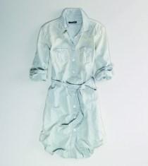 W jean dress, button down, long sleeve, w/ jean tie belt Boom