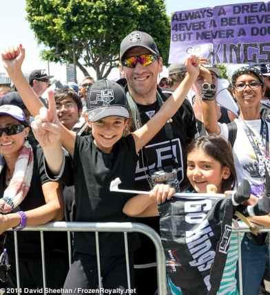 LA Kings fan Augie Loya (center)