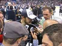 LA Kings captain Dustin Brown speaks to the media