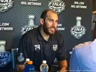 Los Angeles Kings left wing Dwight King, shown here speaking to the media during the 2014 Stanley Cup Final Media Day at Staples Center in Los Angeles, June 3, 2014.