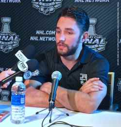 Los Angeles Kings defenseman Alec Martinez, shown here speaking to the media during the 2014 Stanley Cup Final Media Day at Staples Center in Los Angeles, June 3, 2014.