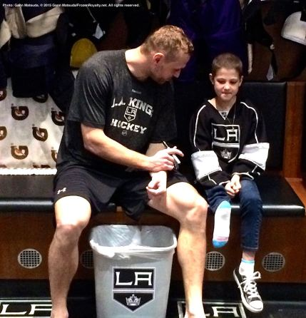LA Kings forward Marian Gaborik chats with nine-year-old cancer patient Grace Bowen