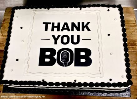 This cake was waiting for Bob Miller when he arrived in the Chick Hearn Media Room at Staples Center after his final home game.