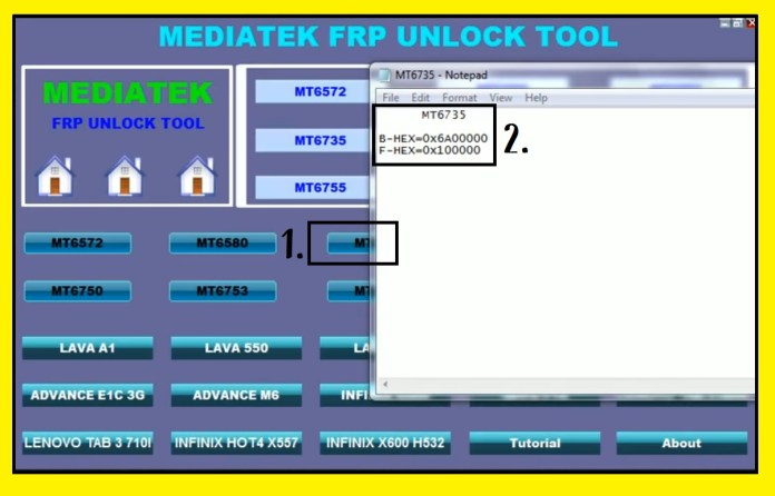 Save FRP address to MTK FRP Tool