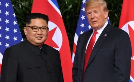 Chairman Kim Jong Un of the socialist Democratic Peoples Republic of Korea (DPRK) with Donald Trump.