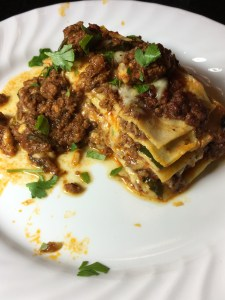 gluten free meaty lasagna with spinach