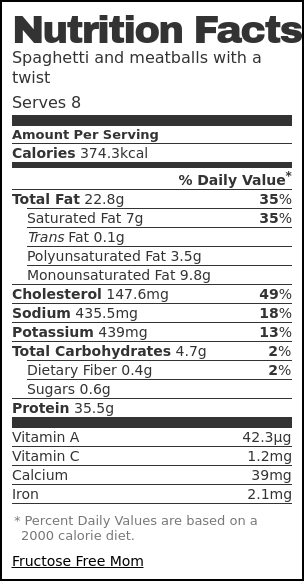 Nutrition label for Spaghetti and meatballs with a twist