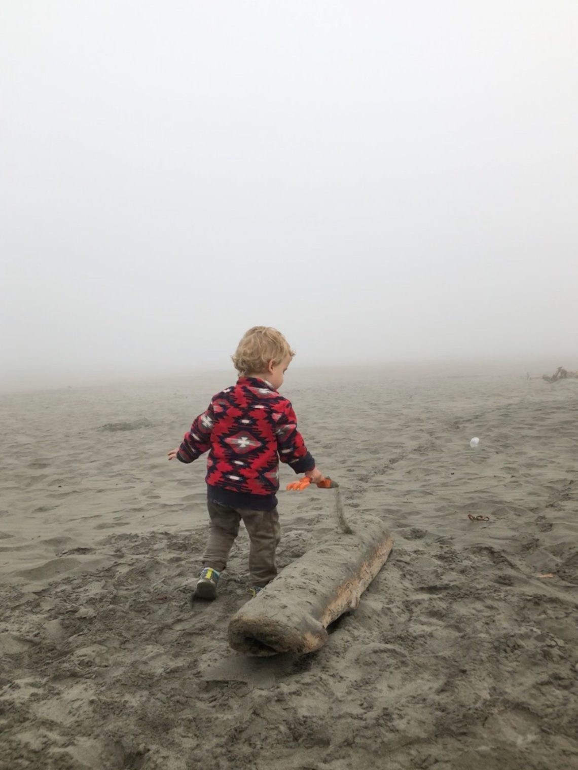playing in the sand at Wreck of Peter Iredale, Ft Stevens State park