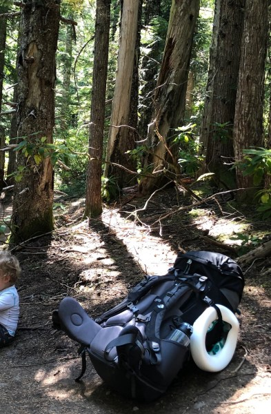 backpacking with a toddler means toddler on strike!