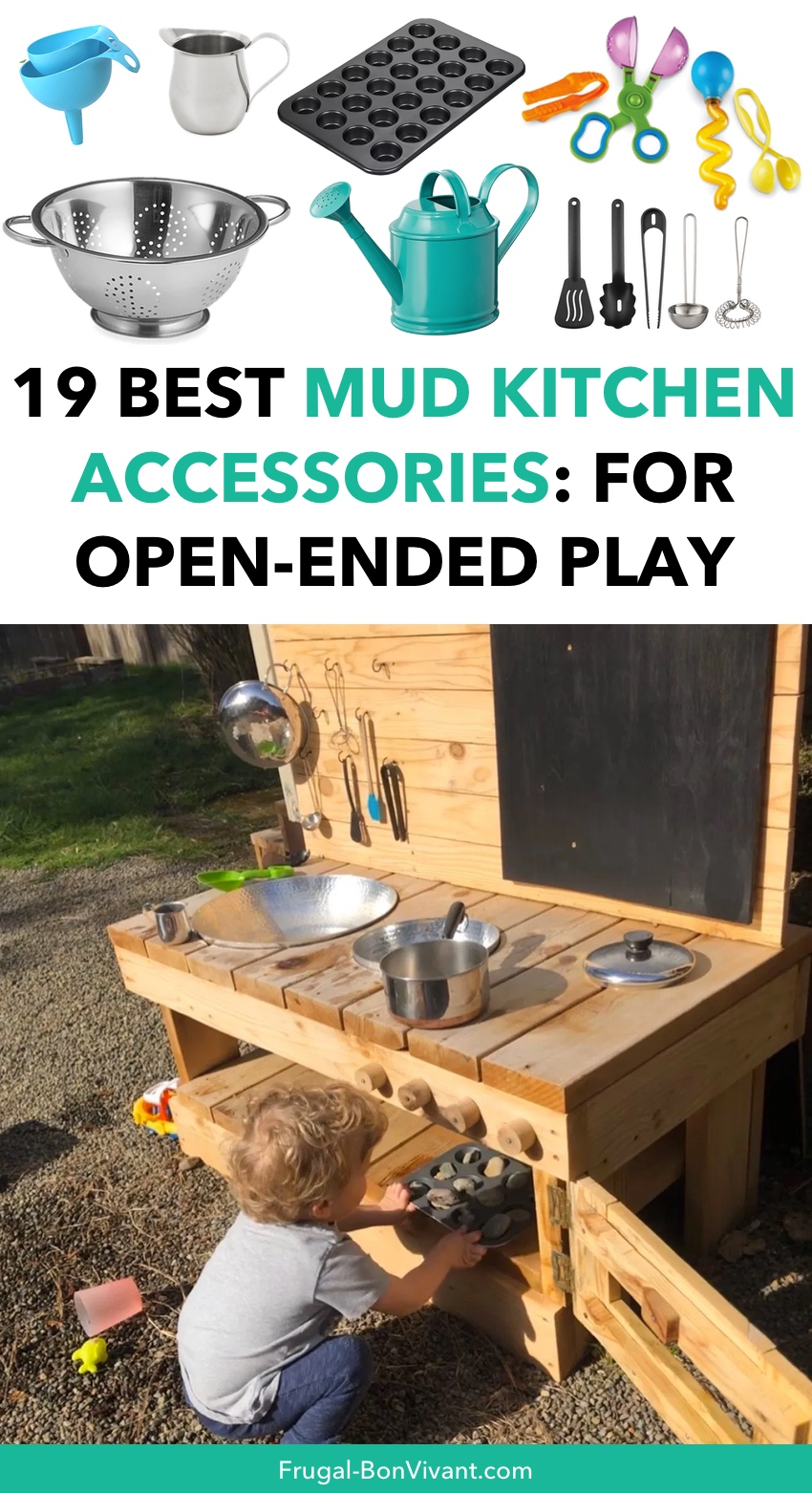 Best mud kitchen accessories ideas for open-ended play, tools, utensils, pouring and more