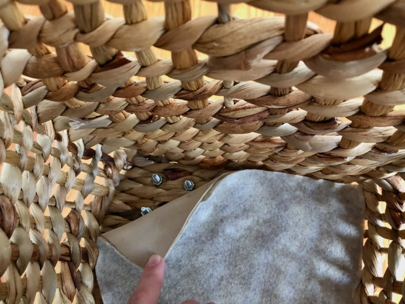 Interior of the wicker basket with wheels, covered by craft foam and felt.