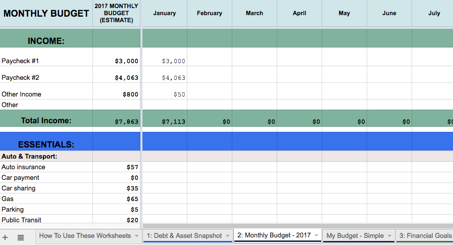 monthly budget spreadsheet: personal finance tips