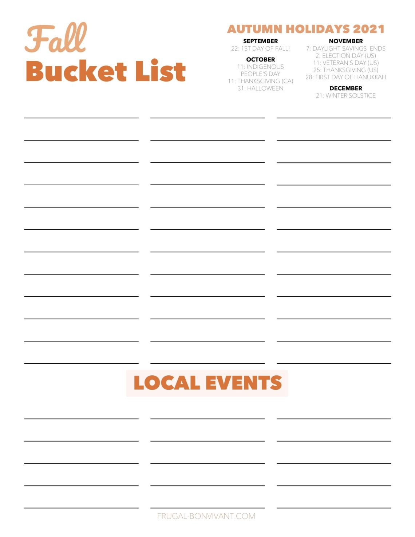 fall bucket list template