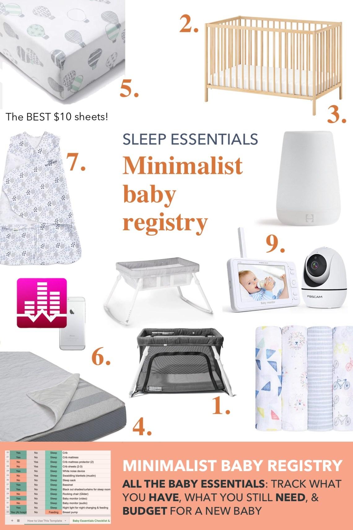 baby sleep essentials: minimalist baby registry checklist