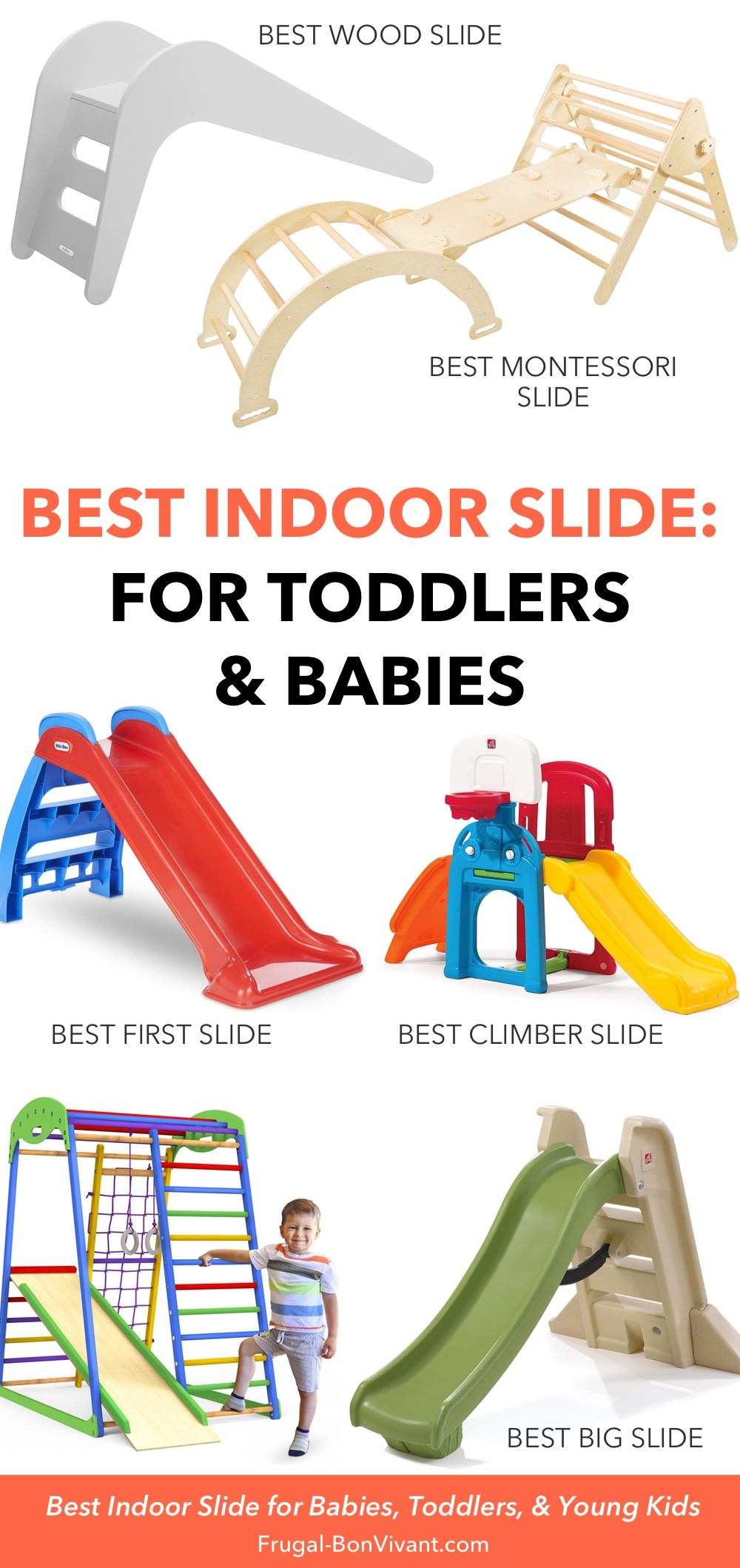 Best indoor slide for toddlers, babies and young kids infographic