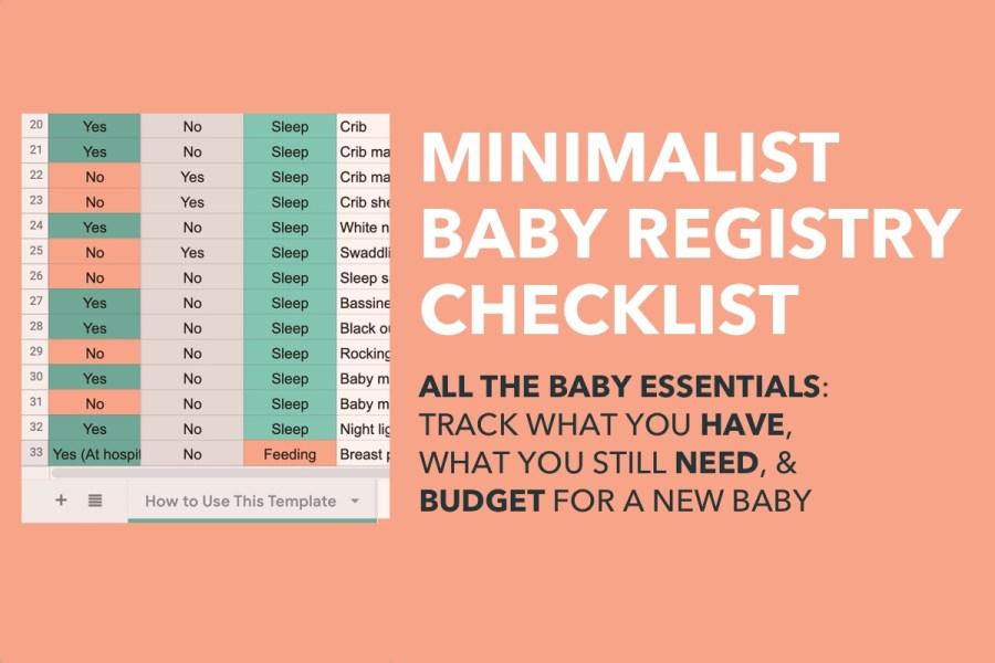 spreadsheet for minimalist baby registry checklist