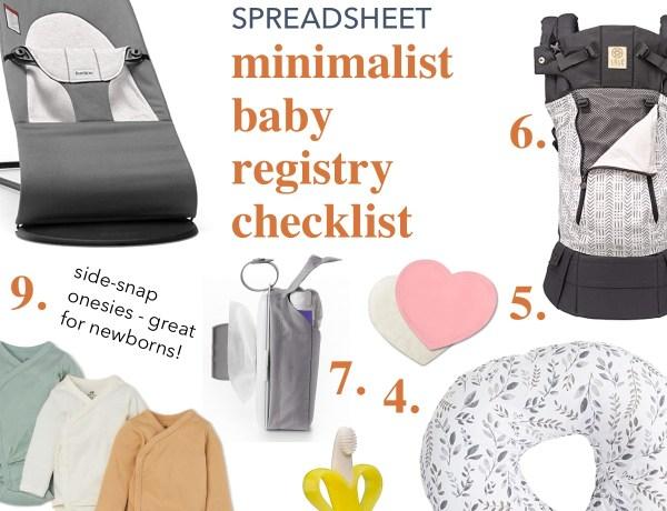 Minimalist baby registry checklist spreadsheet