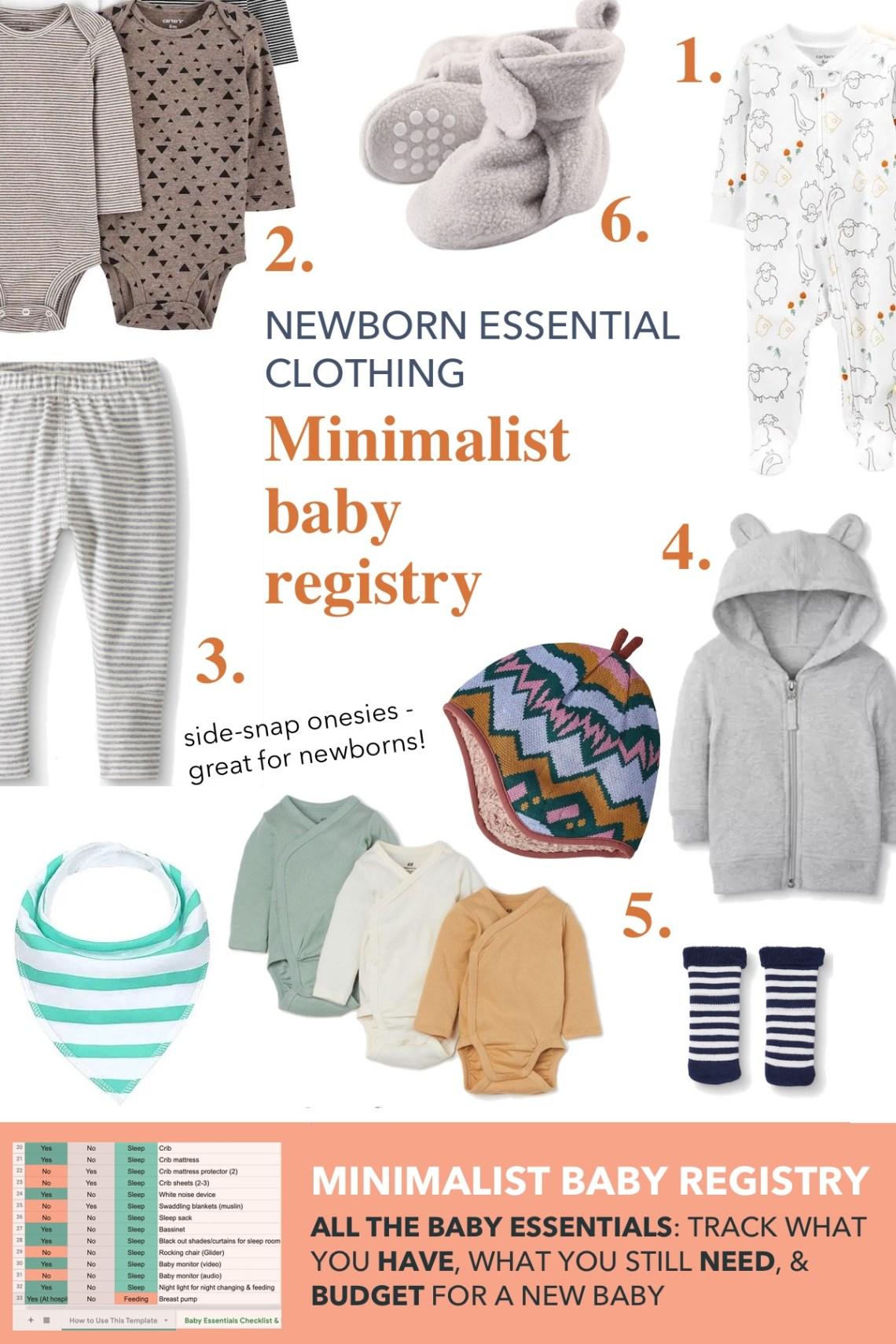 newborn essential clothing for a minimalist baby registry checklist