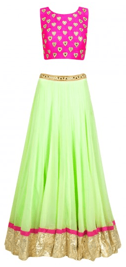 Mint green lehenga with pink heart crop choli