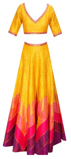 Pink yellow and magenta zig zag gota lines sequins lehenga