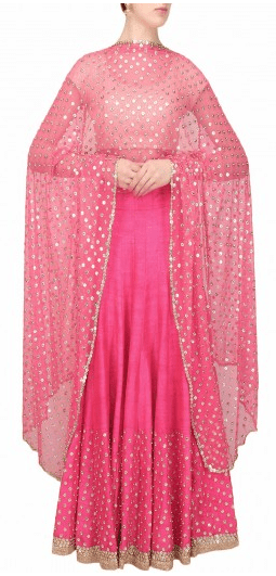 Hot pink sequins embroidered lehenga and off white blouse