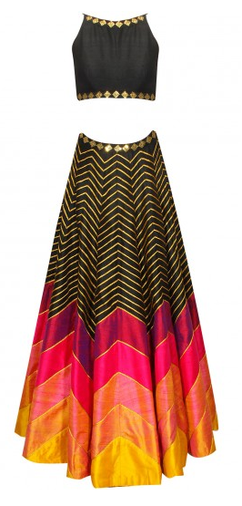 Black, hot pink and yellow sequins embroidered lehenga