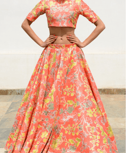 Orange Raw Silk Lehenga