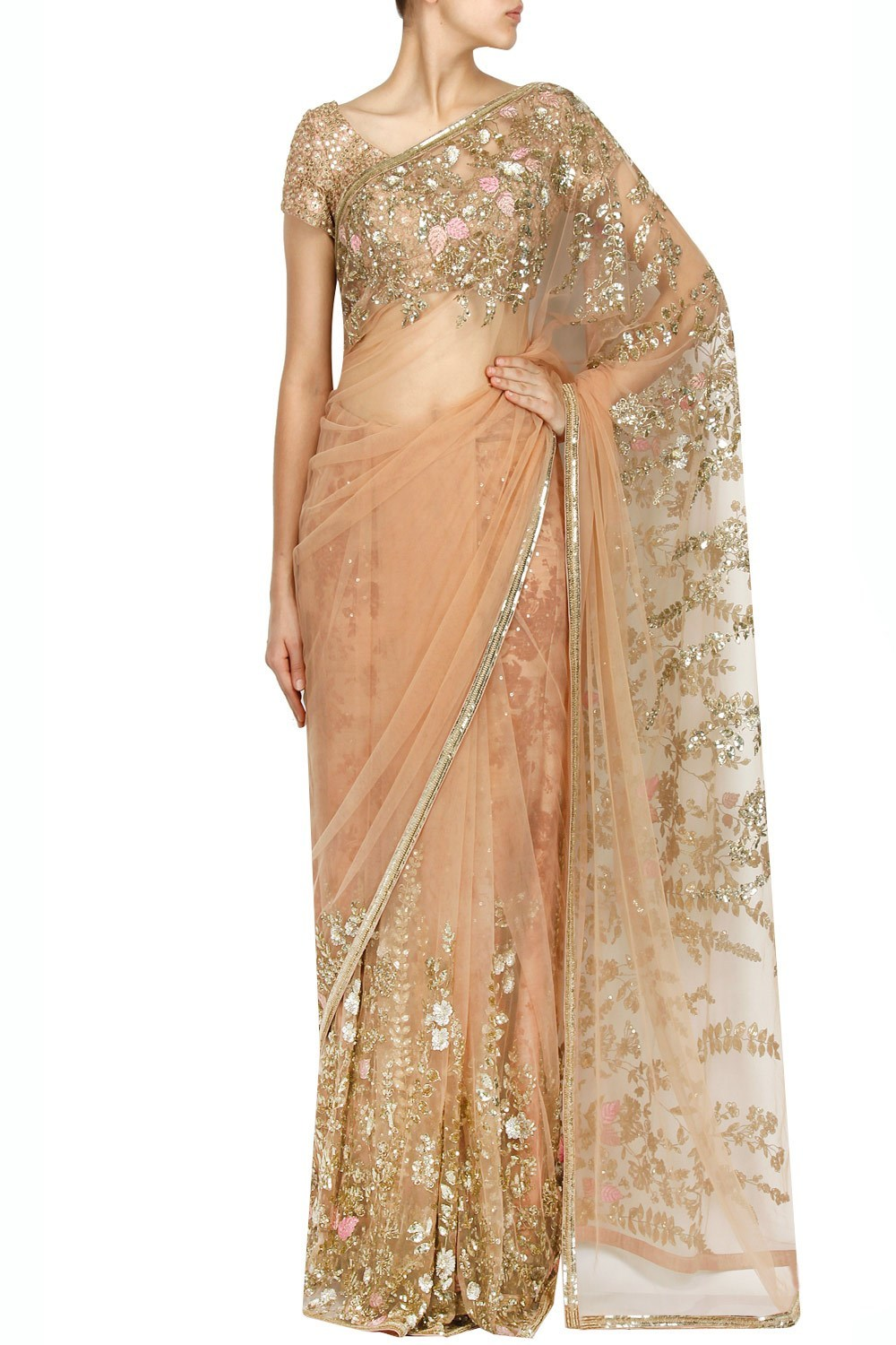 caccf3a7e14446 Sabyasachi Peach Floral Thread Sequins Embroidered Saree – INR 98500 ~ USD  1450