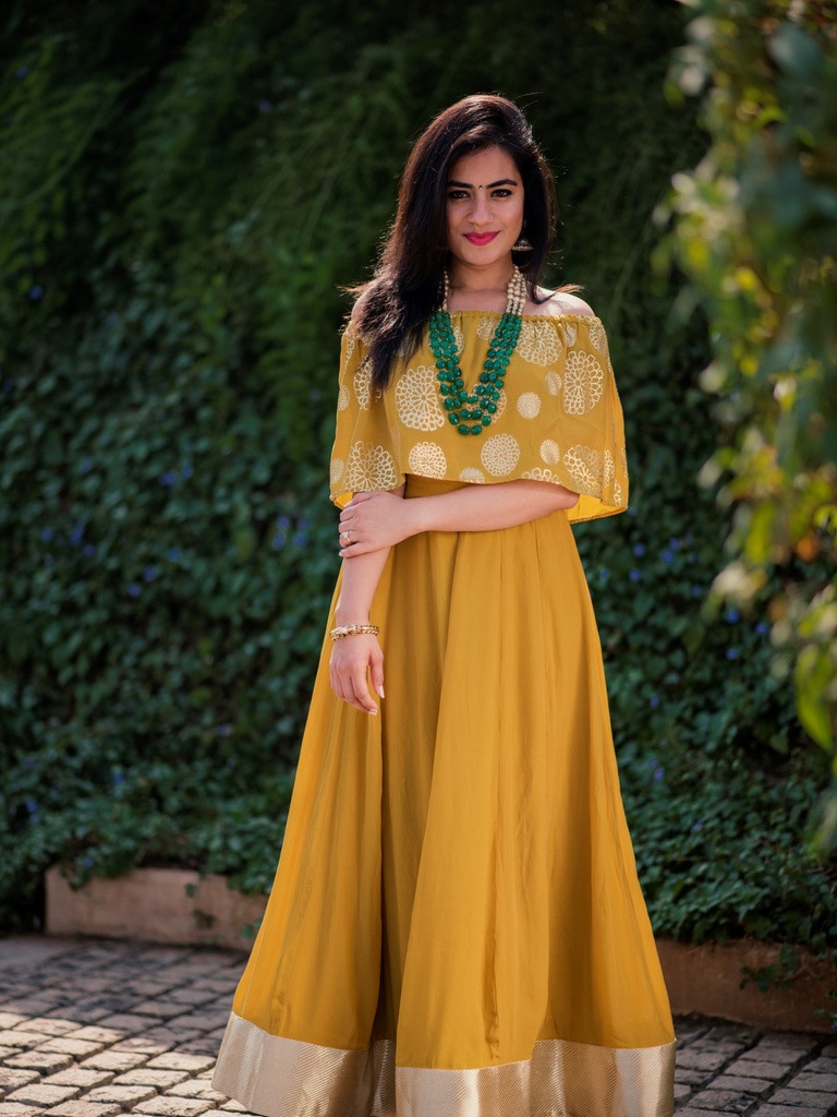 Mustard Off Shoulder Lehenga