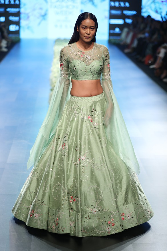 Apple Green Raw Silk Lehenga