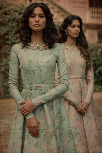 Pale Pink Floral Sabyasachi Gown