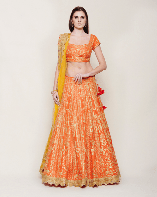 Emerald Orange Lehenga