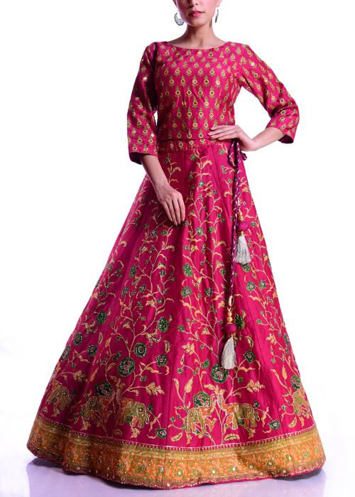Red Chanderi Lehenga