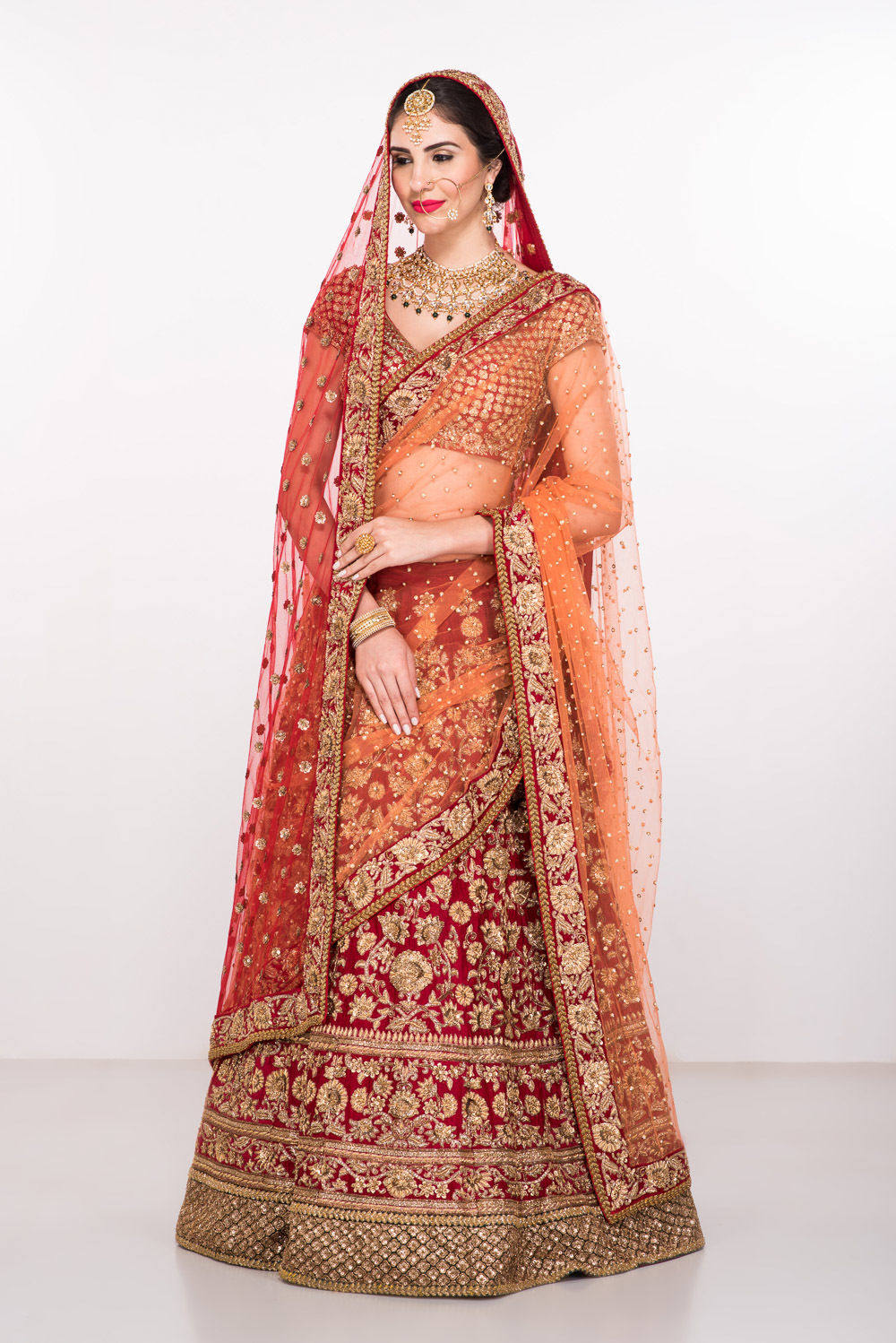 Red Heavy Bridal Sabyasachi Lehenga