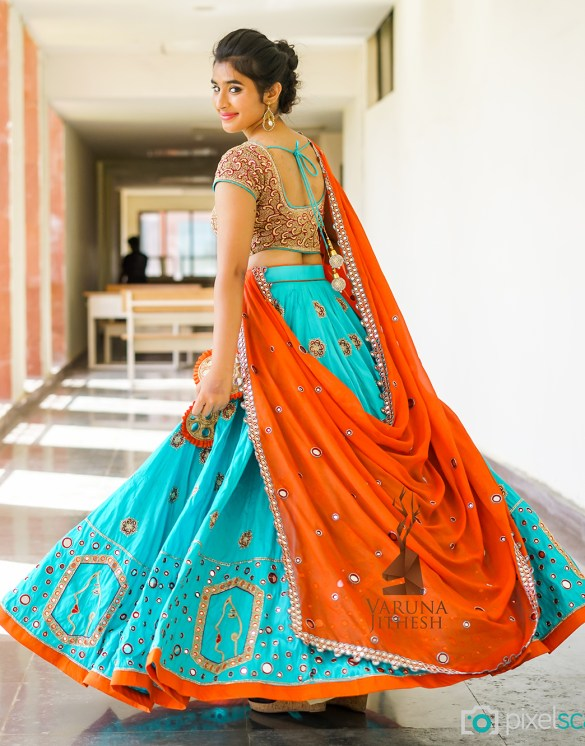 Green Orange Varuna Jithesh Lehenga