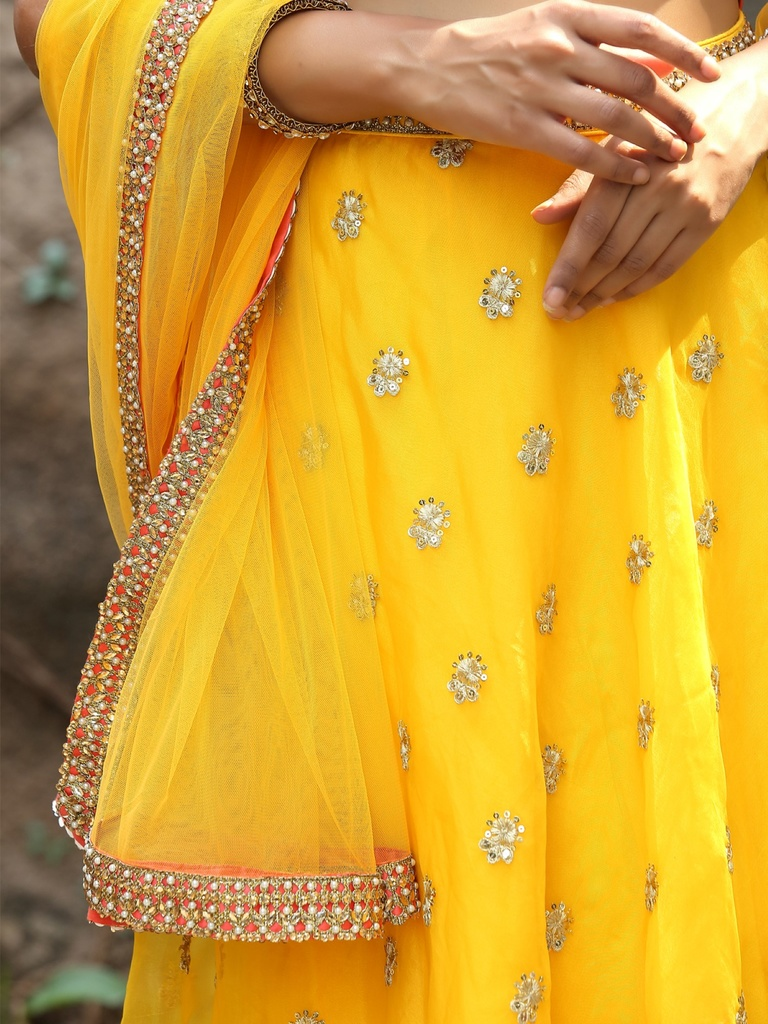 Yellow Orange Lehenga Set