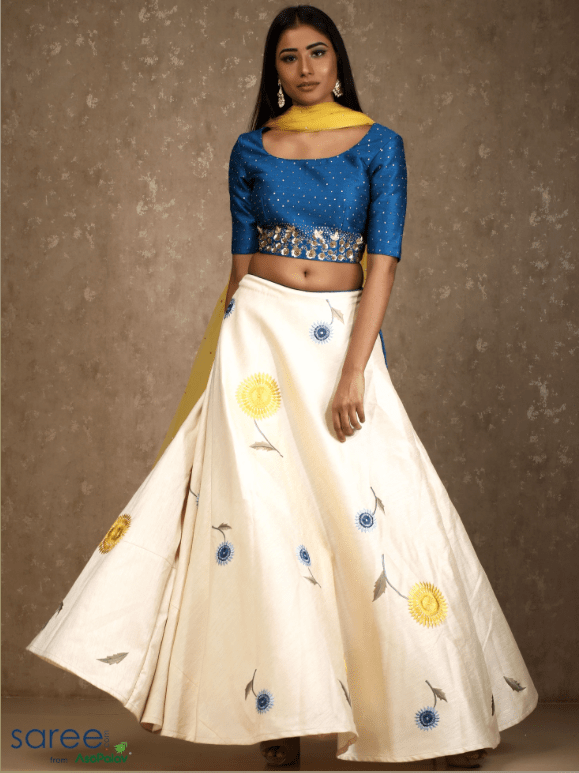 Cream Raw Silk Lehenga